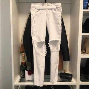Blank NYC Distressed White Jeans
